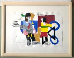 Mixed Media Neo Expressionist Collage Painting African American Kids, Bicycle NY