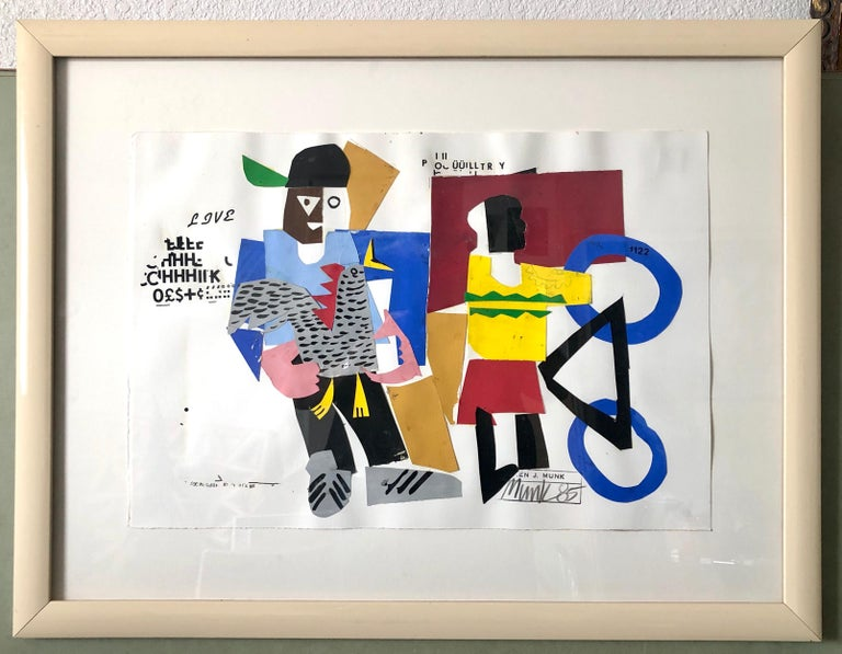 Mixed Media Neo Expressionist Collage Painting African American Kids, Bicycle NY - Mixed Media Art by Loren Munk