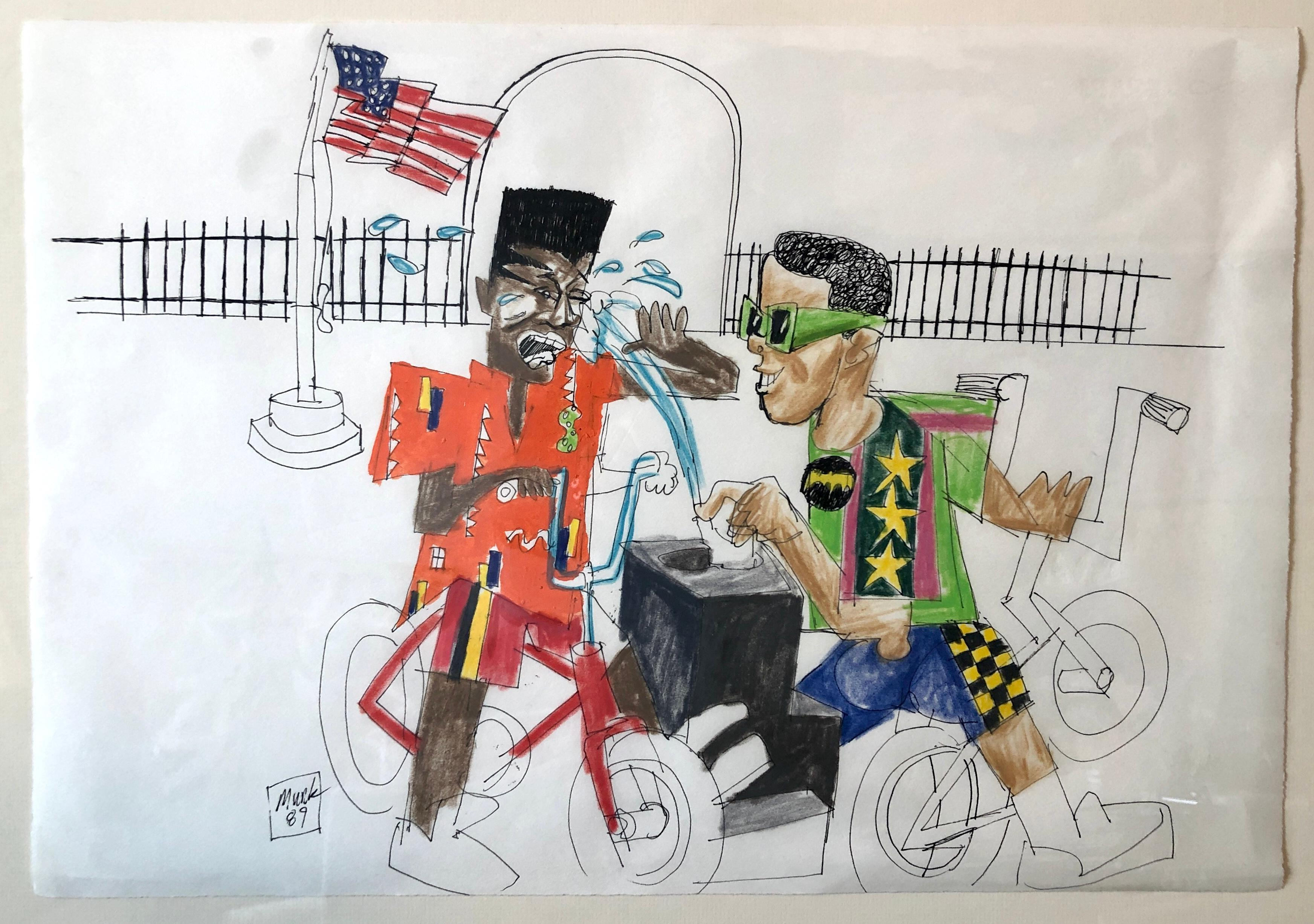 Mixed Media Neo Expressionist Painting Drawing African American Kids in Park