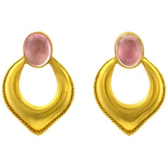 Loren Nicole 22 Karat Gold Granulation and Pink Tourmaline Arabesque Earrings