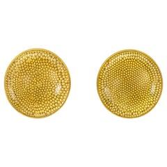 Loren Nicole 22 Karat Gold Granulation Rock Crystal Cabochon Stud Earrings