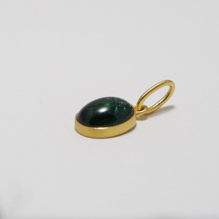 b60f8d4861277 Loren Nicole 22k Gold Blue Green Tourmaline Cabochon Charm Pendant One of a  Kind