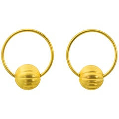 22 Karat Gold Egyptian Revival Melon Hoop Earring