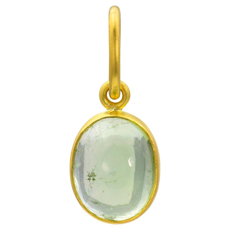 e22cd1a573611 Loren Nicole 22k Gold Green Tourmaline Pendant One of a Kind