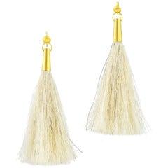Loren Nicole 22k Gold Horsehair White Tassel Shoulder Duster Earrings