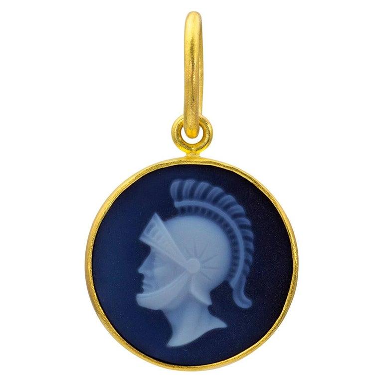 c2ef039e24068 Loren Nicole 22k Gold Roman Soldier Cameo Charm Pendant One of a Kind