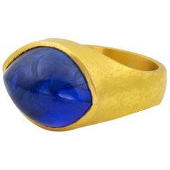 22 Karat Roman Signet Ring Blue Tanzanite Marquis