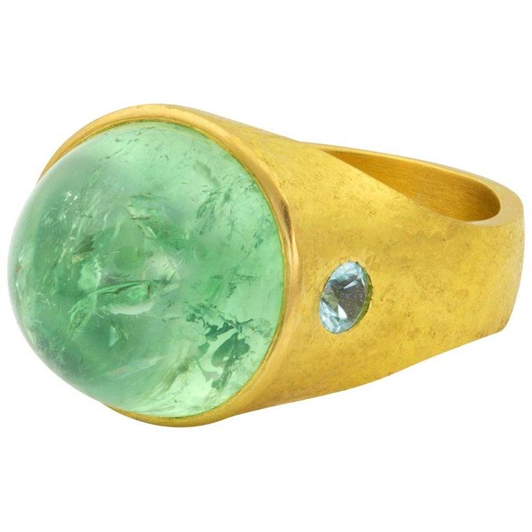 Mint garnet and tourmaline Roman signet ring