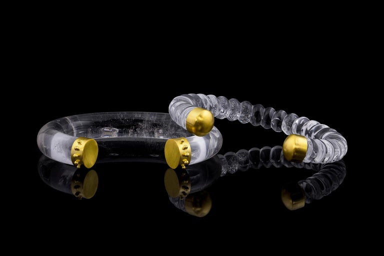 Contemporary 22 Karat Yellow Gold Hellenic Carved Rock Crystal Cuff Bracelet For Sale