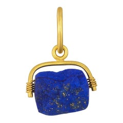 22 Karat Yellow Gold Natural Surface Lapis Charm Pendant