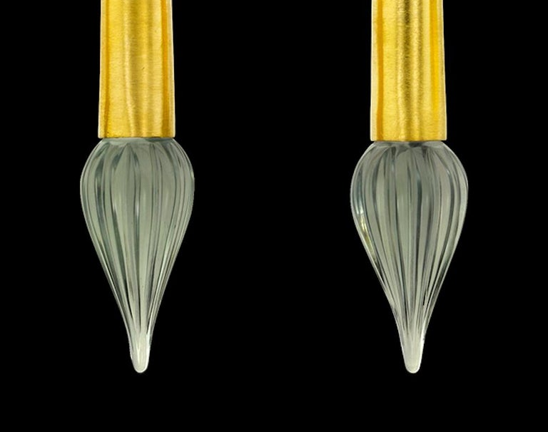 22 Karat Yellow Gold Tourmaline and Green Amethyst Torpedo Drop Earrings In New Condition For Sale In Hermosa Beach, CA