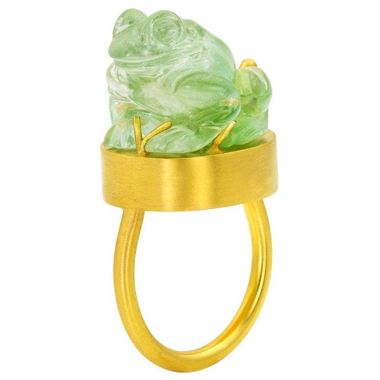 Green tourmaline frog amulet ring