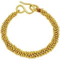 Loren Nicole Classic Solid Gold Braided Bead Bracelet