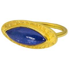 Loren Nicole Egyptian Tanzanite Marquise Cabochon Eye Signet Ring
