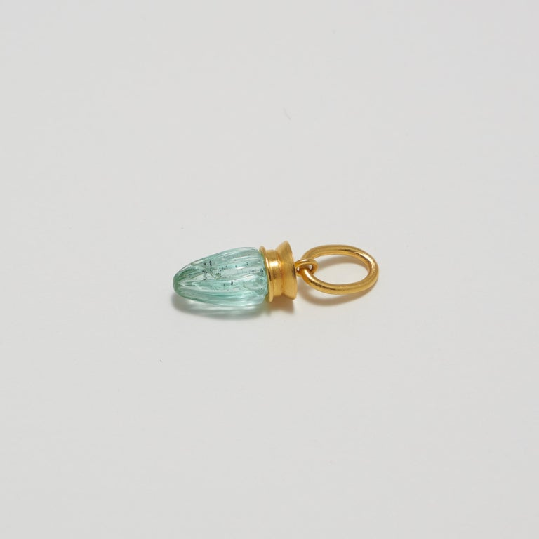 Contemporary Loren Nicole 22k Yellow Gold and Carved Emerald Charm Pendant  For Sale