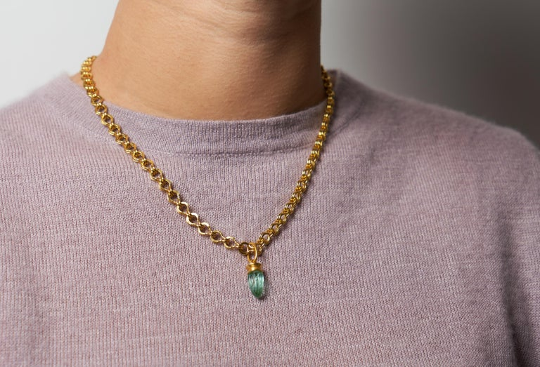 Loren Nicole 22k Yellow Gold and Carved Emerald Charm Pendant  For Sale 1
