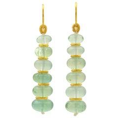 Loren Nicole Green Beryl 22 Karat Yellow Gold Drop Earrings