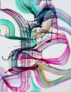 """Lorene Anderson """"Harmonics"""" -- Colorful Abstract Painting on Paper"""