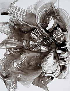 """Lorene Anderson """"Hurtle"""" -- Black and White Abstract Painting on Paper"""
