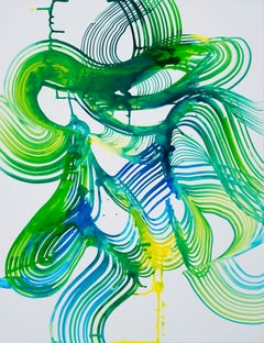 """Lorene Anderson """"Pinewood"""" -- Colorful Abstract Painting on Paper"""
