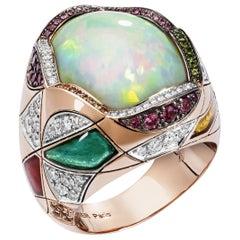 Lorenz Bäumer 9 Carat White Opal Sapphires Diamonds Pink Gold Cocktail Ring
