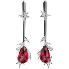 Lorenz Bäumer Rubellites Diamonds White Gold Pendant Earrings