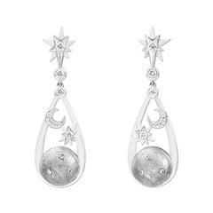 Lorenz Bäumer Unique Meteorite Diamonds White Gold Earrings