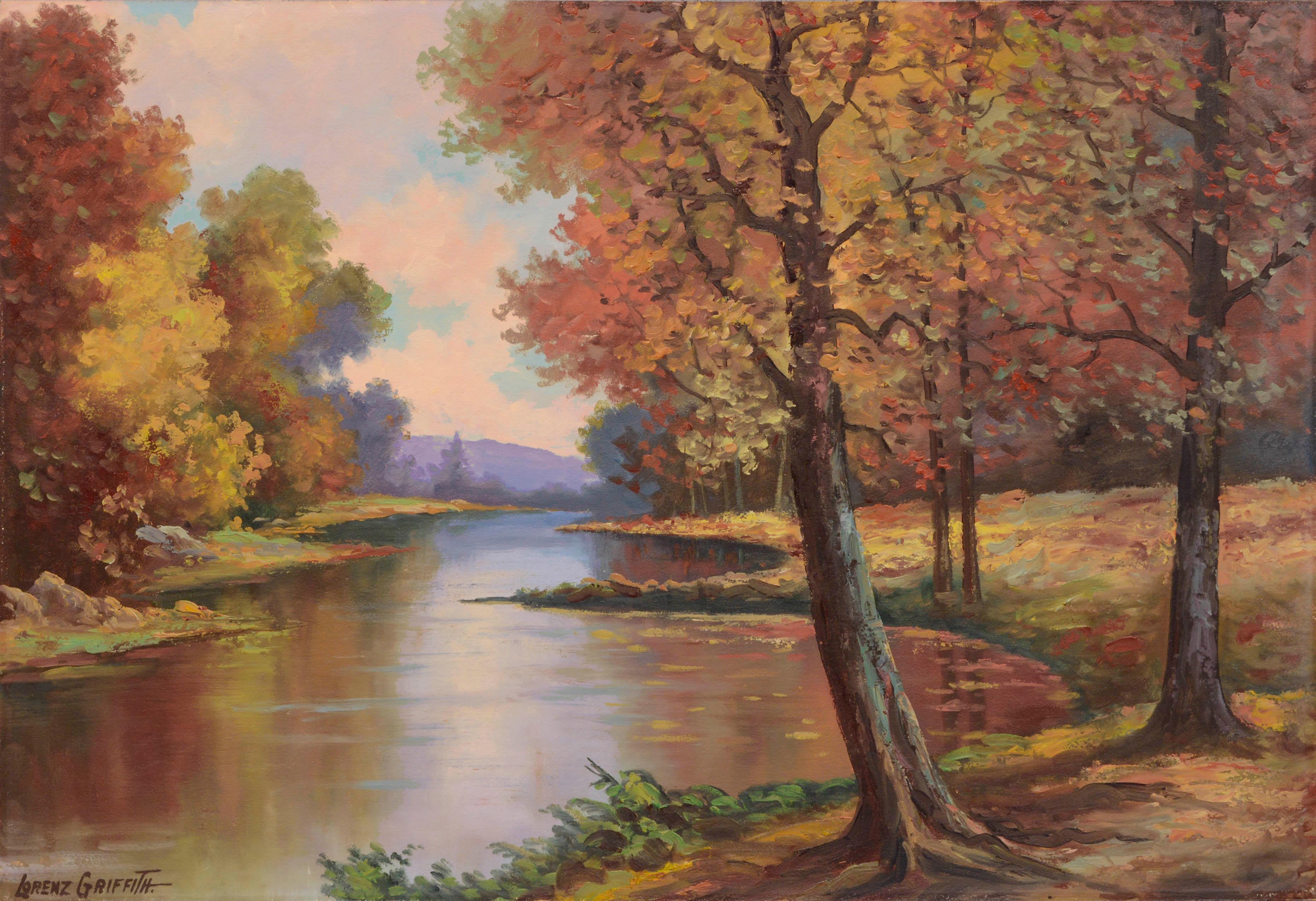 Mid Century Autumn Reflections Landscape