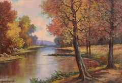 Mid Century Autumn Reflections Landscape