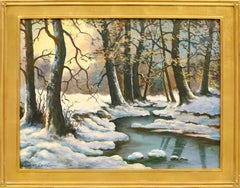 Mid Century Winter Stream Landscape