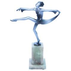 "Josef Lorenzl ""Scarf Dancer"" Bronze Figure on a Onyx Base Signed ""J Lor"""