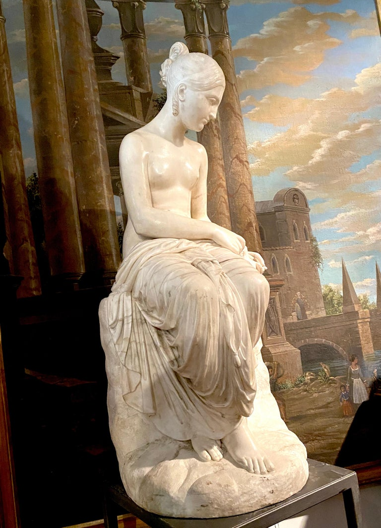 Fine Neoclassical White Marble Sculpture of Seated Nymph 1820 For Sale 8