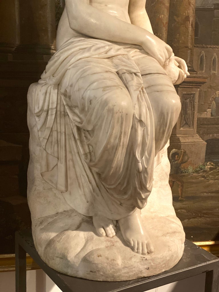 Fine Neoclassical White Marble Sculpture of Seated Nymph 1820 For Sale 9