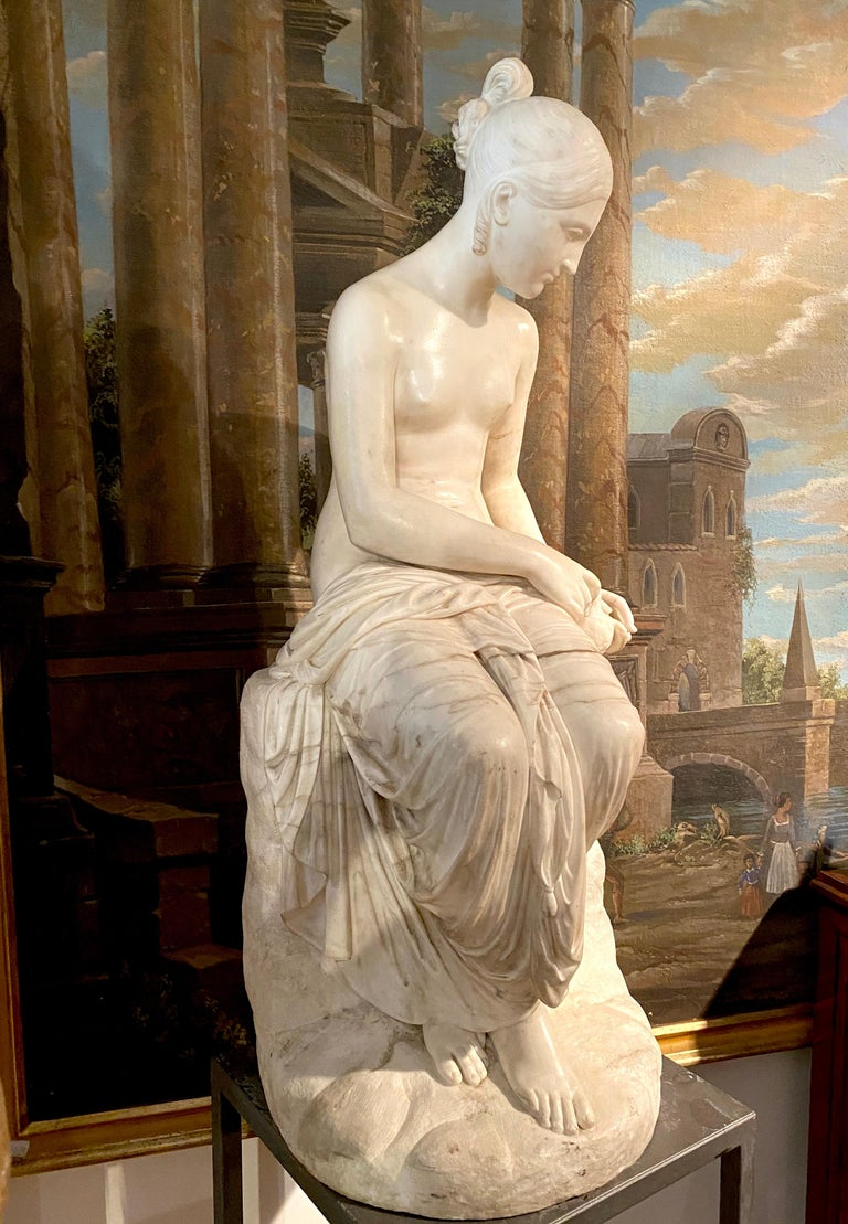 Fine Neoclassical White Marble Sculpture of Seated Nymph 1820 For Sale 10