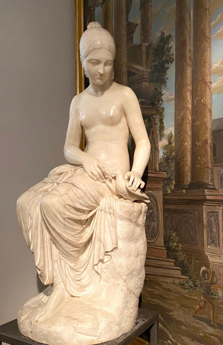 Fine Neoclassical White Marble Sculpture of Seated Nymph 1820 - Brown Nude Sculpture by Lorenzo Bartolini