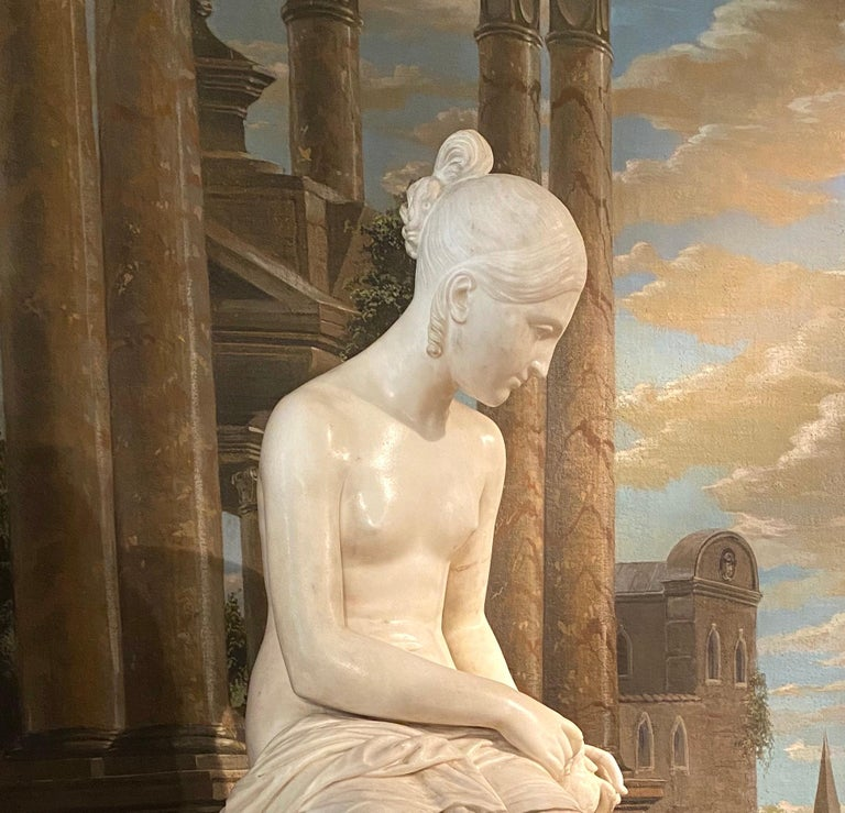 Fine Neoclassical White Marble Sculpture of Seated Nymph 1820 For Sale 1