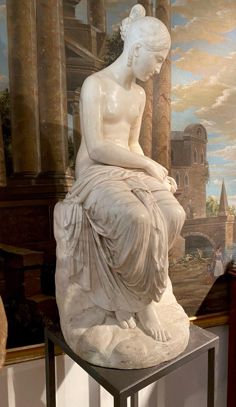 Fine Neoclassical White Marble Sculpture of Seated Nymph 1820 For Sale 2
