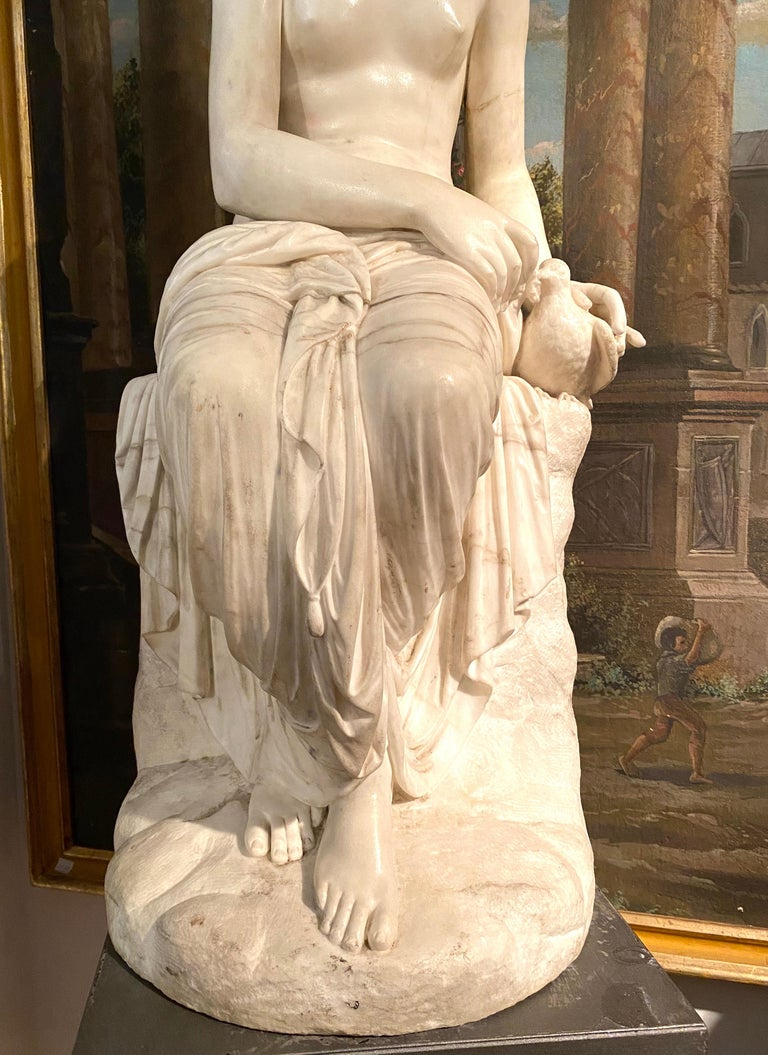 Fine Neoclassical White Marble Sculpture of Seated Nymph 1820 For Sale 3