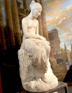Fine Neoclassical White Marble Sculpture of Seated Nymph 1820