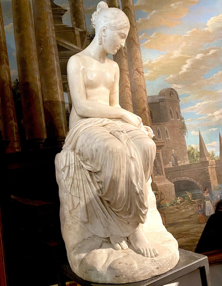 Lorenzo Bartolini Nude Sculpture - Fine Neoclassical White Marble Sculpture of Seated Nymph 1820