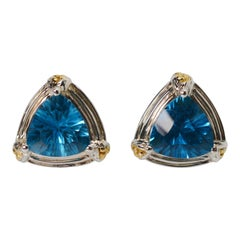 Lorenzo Blue Topaz Sterling Silver 18 Karat Gold Stud Earrings