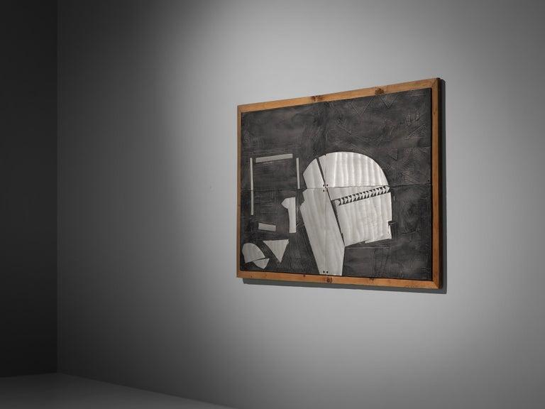 Italian Lorenzo Burchiellaro Abstract Wall Panel in Aluminum and Wood For Sale