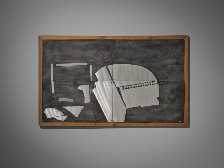 Late 20th Century Lorenzo Burchiellaro Abstract Wall Panel in Aluminum and Wood For Sale