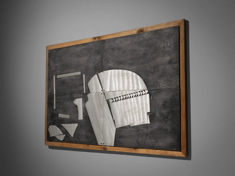 Lorenzo Burchiellaro Abstract Wall Panel in Aluminum and Wood For Sale 2