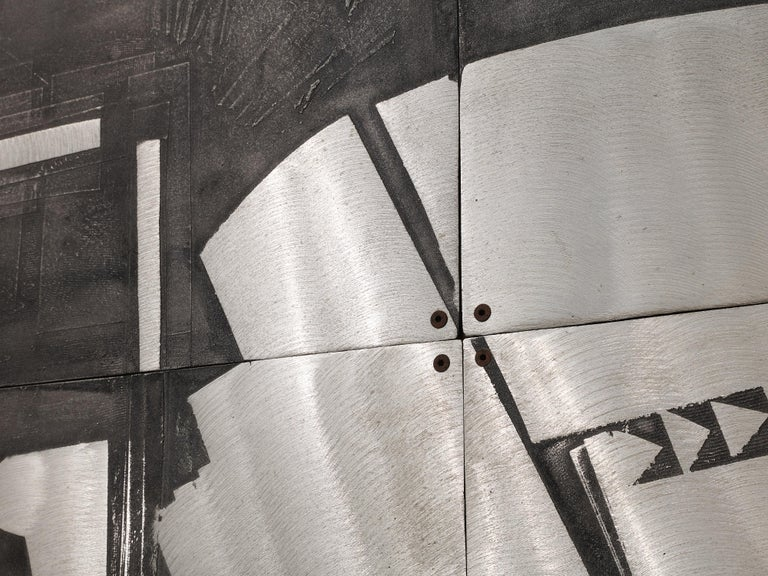 Lorenzo Burchiellaro Abstract Wall Panel in Aluminum and Wood For Sale 3