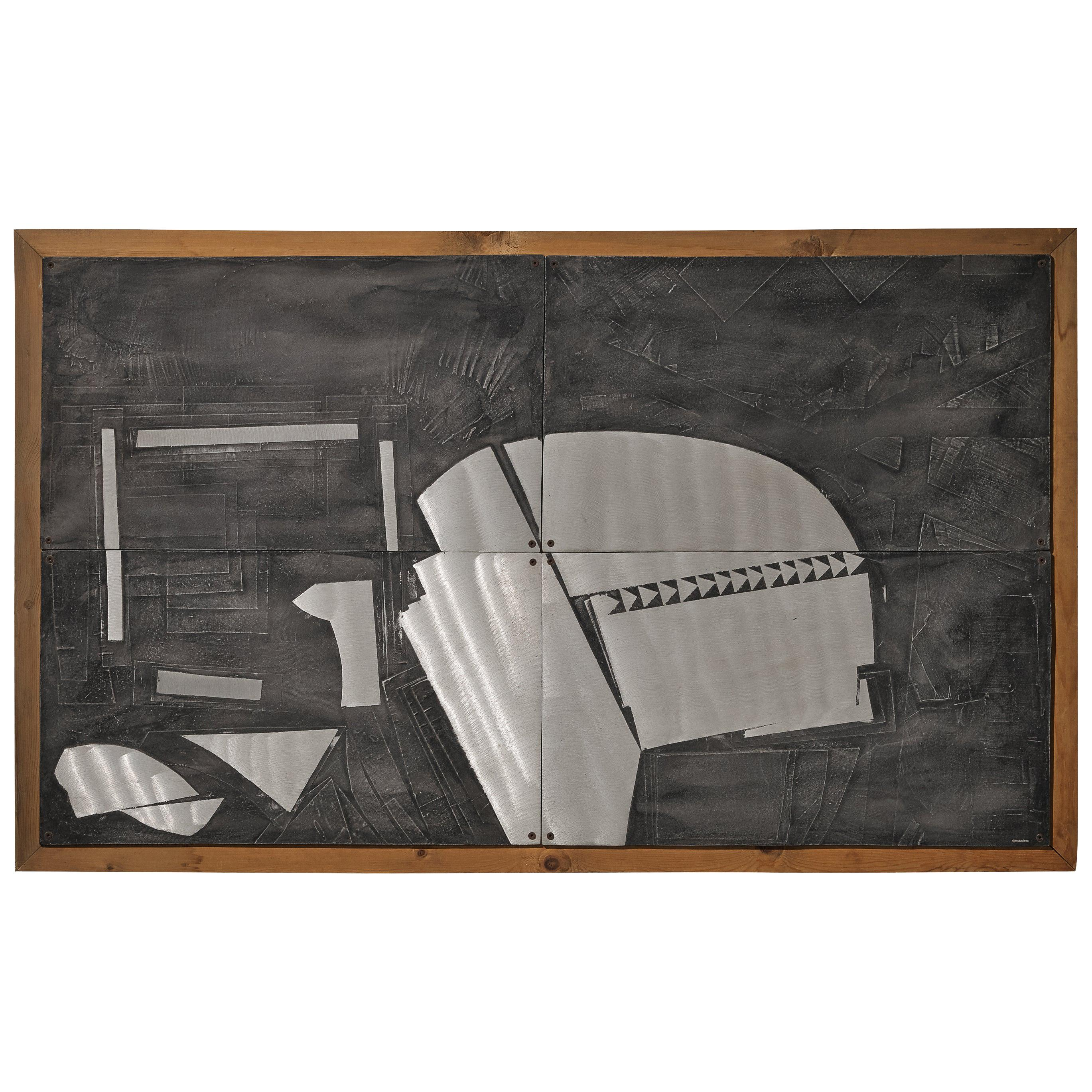 Lorenzo Burchiellaro Abstract Wall Panel in Aluminum and Wood