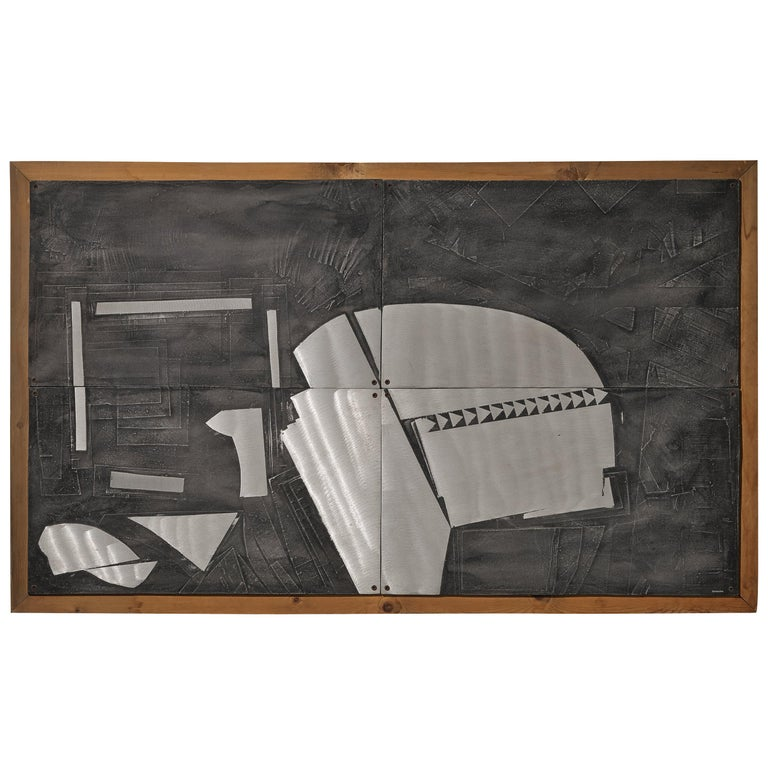 Lorenzo Burchiellaro Abstract Wall Panel in Aluminum and Wood For Sale