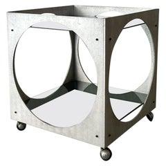Lorenzo Burchiellaro Cubic Carts Bar Two Tiers Aluminum Glass, Italy, 1970s
