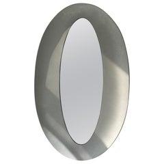 Lorenzo Burchiellaro Etched Aluminum Italian Oval Wall Mirror