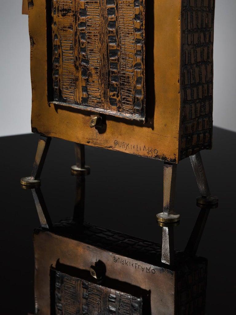 Mid-Century Modern Lorenzo Burchiellaro Figurative Table Clock in Metal